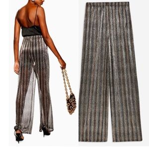 Top Shop Sheer Glitter Wide Leg Trousers
